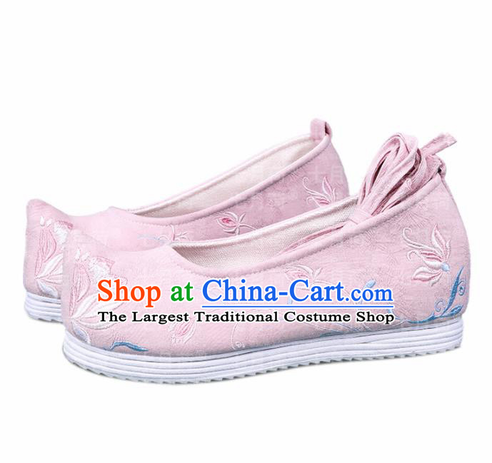 Chinese Traditional Hanfu Cloth Shoes Embroidered Orchid Pink Shoes Handmade Ancient Princess Shoes for Women