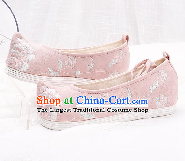 Chinese Traditional Embroidered Peony Pink Shoes Hanfu Cloth Shoes Handmade Ancient Princess Shoes for Women