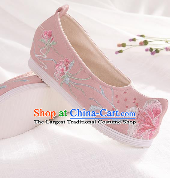 Chinese Traditional Embroidered Peach Blossom Pink Shoes Hanfu Cloth Shoes Handmade Ancient Princess Shoes for Women