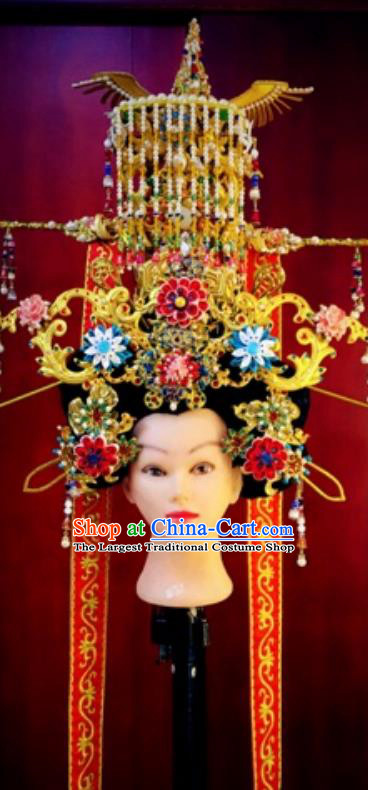 Chinese Traditional Stage Show Phoenix Coronet Hair Accessories Handmade Cosplay Queen Hat Headwear for Women