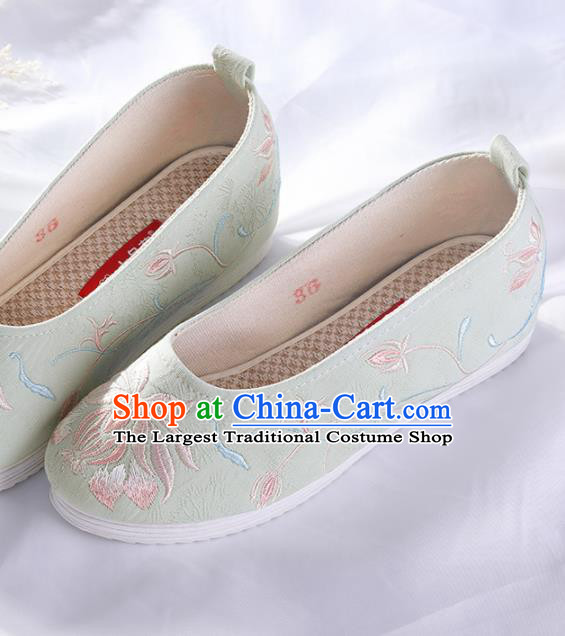 Chinese Traditional Embroidered Orchid Green Shoes Hanfu Cloth Shoes Handmade Ancient Princess Shoes for Women