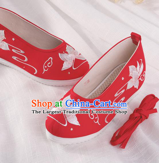 Chinese Traditional Embroidered Lotus Red Shoes Hanfu Cloth Shoes Handmade Ancient Princess Shoes for Women