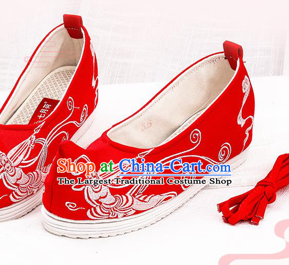 Chinese Traditional Embroidered Peri Red Shoes Hanfu Cloth Shoes Handmade Ancient Princess Shoes for Women