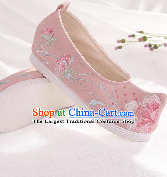 Chinese Traditional Pink Embroidered Flowers Shoes Hanfu Cloth Shoes Handmade Ancient Princess Shoes for Women