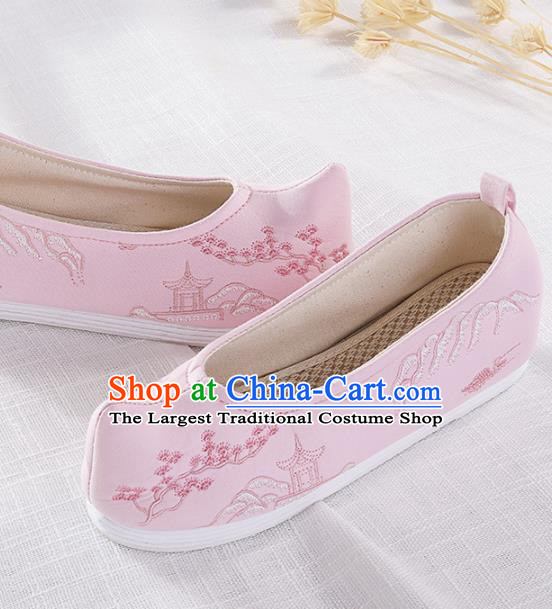 Chinese Traditional Embroidered Pavilion Pink Shoes Hanfu Cloth Shoes Handmade Ancient Princess Shoes for Women