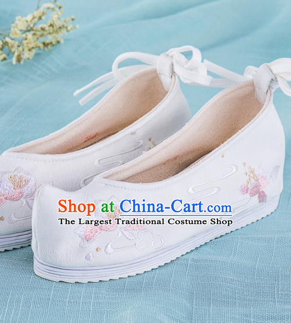 Chinese Traditional Embroidered Shoes Hanfu White Cloth Shoes Handmade Ancient Princess Shoes for Women