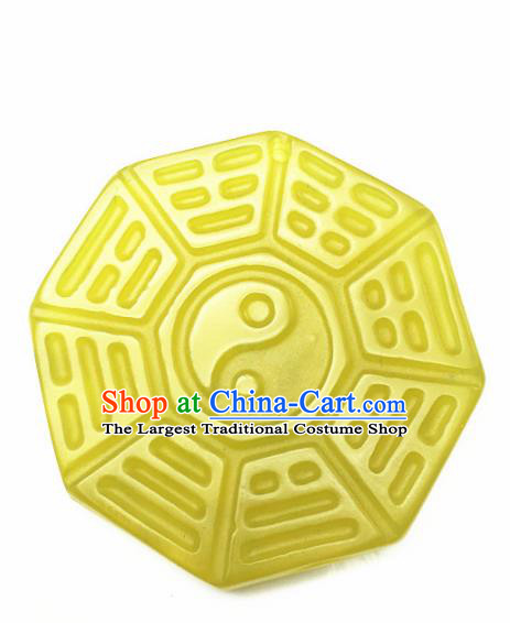 Handmade Chinese Jade Carving Eight Diagrams Pendant Traditional Jade Craft Jewelry Accessories