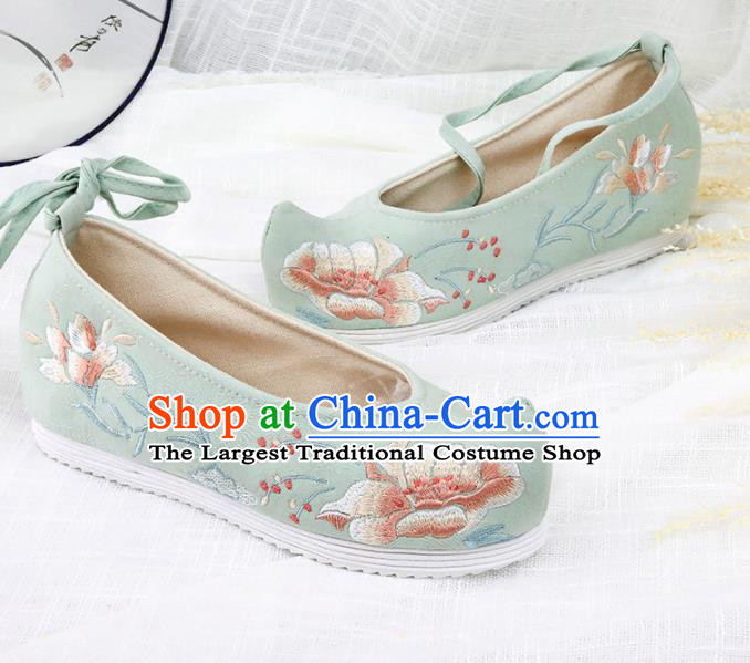 Chinese Traditional Embroidered Peony Green Shoes Hanfu Cloth Shoes Handmade Ancient Princess Shoes for Women