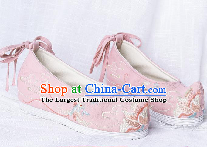 Chinese Traditional Embroidered Phoenix Peony Pink Shoes Hanfu Cloth Shoes Handmade Ancient Princess Shoes for Women