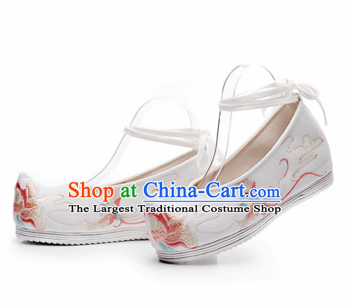 Chinese Traditional Embroidered Phoenix Peony White Shoes Hanfu Cloth Shoes Handmade Ancient Princess Shoes for Women