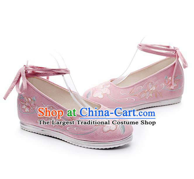 Chinese Traditional Embroidered Flowers Pink Shoes Hanfu Cloth Shoes Handmade Ancient Princess Shoes for Women