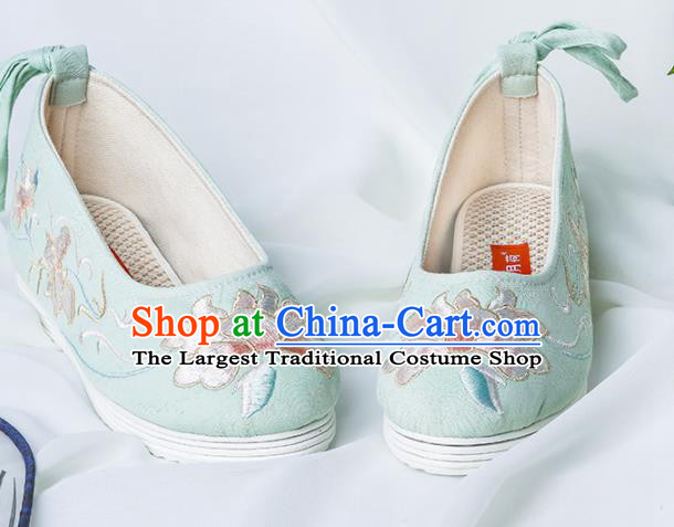 Chinese Traditional Green Embroidered Shoes Hanfu Cloth Shoes Handmade Ancient Princess Shoes for Women