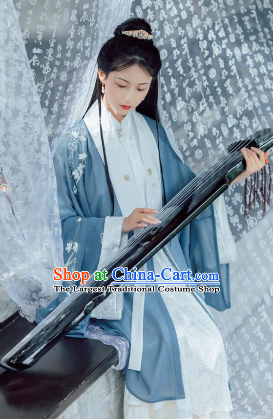 Chinese Ancient Taoist Nun Embroidered Hanfu Dress Traditional Ming Dynasty Miao Yu Historical Costume for Women
