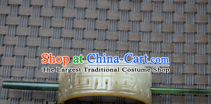 Chinese Handmade Jade Hairpins Ancient Carving Yellow Jade Hair Crown Hair Accessories for Women for Men