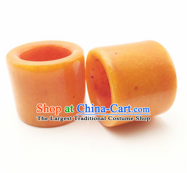 Chinese Handmade Ancient Yellow Jade Rings Traditional Jade Thimble Jewelry Accessories for Women for Men