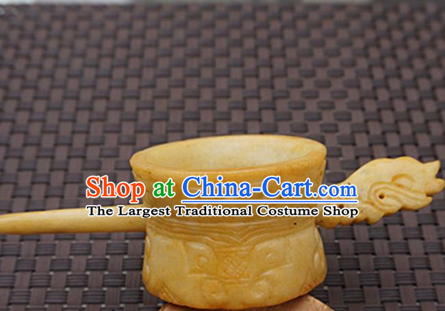 Chinese Handmade Yellow Jade Carving Hair Crown Ancient Jade Hairpins Hair Accessories for Women for Men