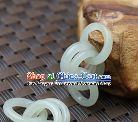 Chinese Handmade Carving Rings Jade Pendant Jewelry Accessories Ancient Traditional Jade Craft Decoration