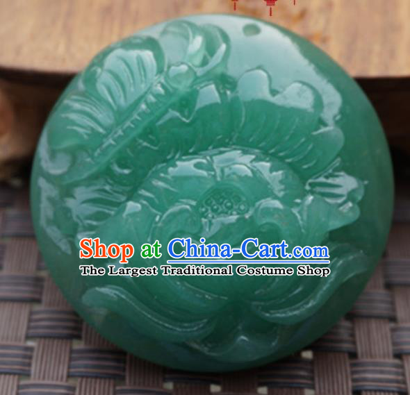 Chinese Handmade Carving Lotus Green Jade Pendant Jewelry Accessories Ancient Traditional Jade Craft Decoration