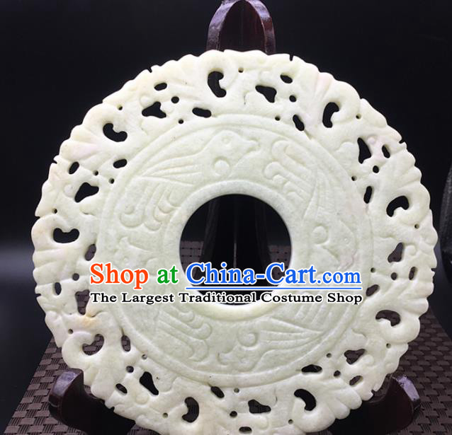 Chinese Handmade Carving Ring White Jade Pendant Jewelry Accessories Ancient Traditional Jade Craft Decoration