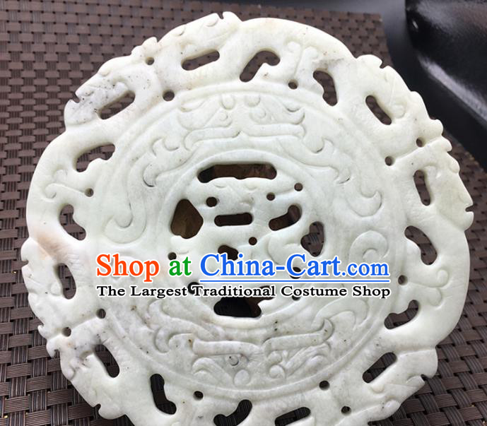 Chinese Handmade Carving Dragon White Jade Ring Pendant Jewelry Accessories Ancient Traditional Jade Craft Decoration
