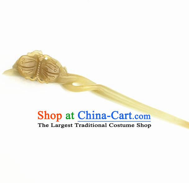 Chinese Handmade Jade Carving Butterfly Hair Clip Ancient Jade Hairpins Hair Accessories for Women for Men