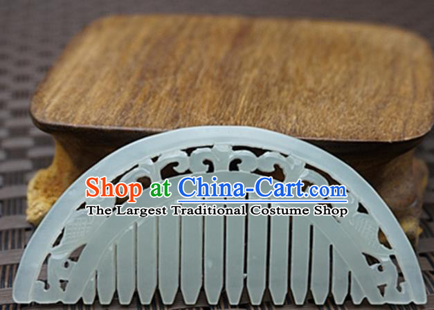 Chinese Handmade Jade Carving Hair Comb Ancient Jade Hairpins Hair Accessories for Women