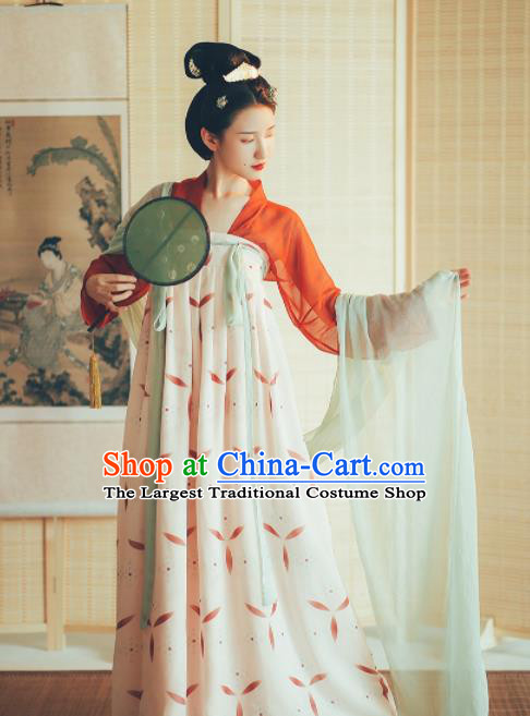 Chinese Ancient Drama Tang Dynasty Court Lady Hanfu Dress Traditional Historical Costume for Women