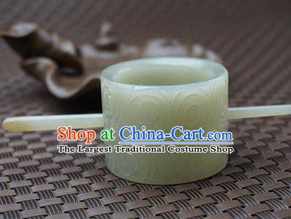 Chinese Handmade Jade Carving Cloud Hair Comb Ancient Jade Hairpins Hair Accessories for Women for Men