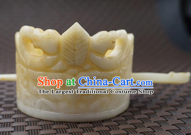 Handmade Chinese Yellow Jade Carving Hair Crown Ancient Jade Hairpins Hair Accessories for Women for Men