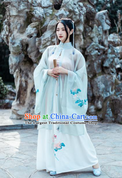 Chinese Ancient Nobility Lady Embroidered Chrysanthemum Hanfu Dress Traditional Drama Ming Dynasty Historical Costume for Women