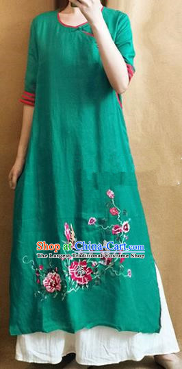 Traditional Chinese Embroidered Peony Green Cheongsam Tang Suit Qipao Dress National Costume for Women
