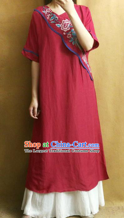 Traditional Chinese Embroidered Peony Wine Red Linen Cheongsam Tang Suit Qipao Dress National Costume for Women