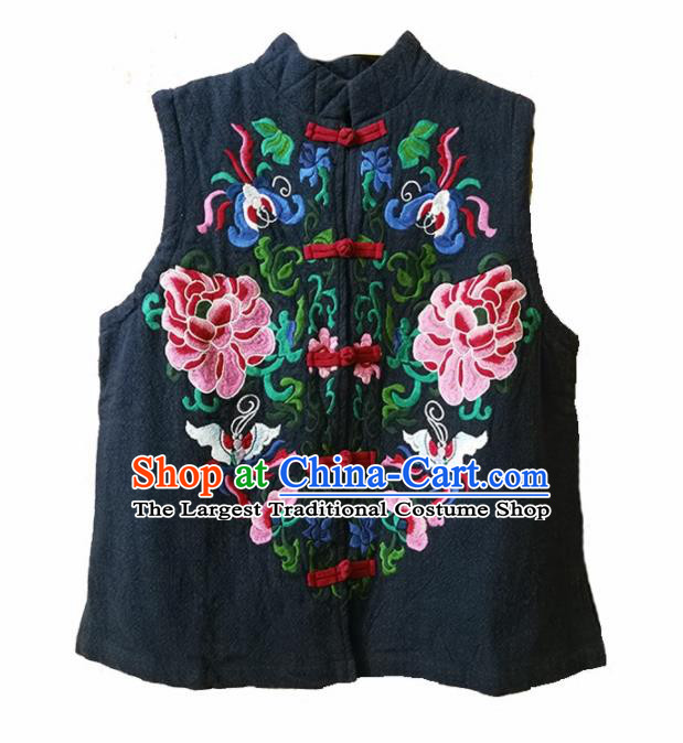 Traditional Chinese Embroidered Peony Navy Vest Tang Suit Upper Outer Garment National Costume for Women