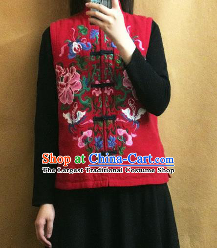 Traditional Chinese Embroidered Peony Red Vest Tang Suit Upper Outer Garment National Costume for Women