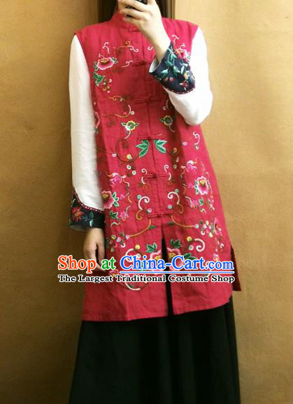 Traditional Chinese Embroidered Peony Red Long Vest Tang Suit Upper Outer Garment National Costume for Women