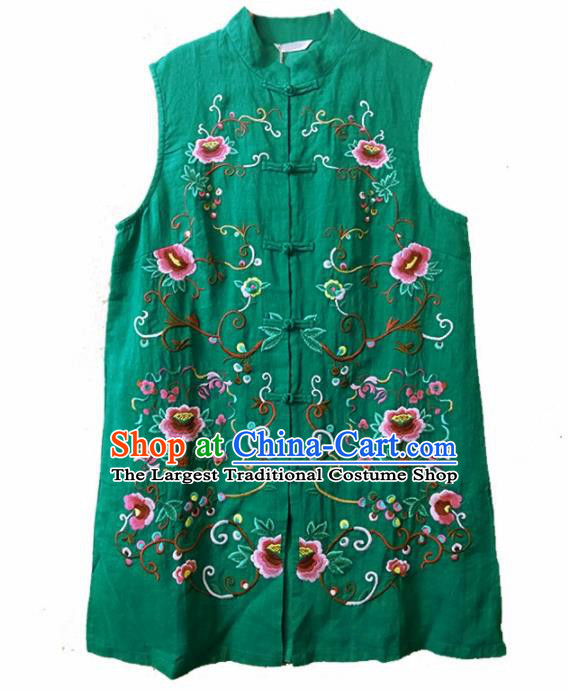 Traditional Chinese Embroidered Peony Green Long Vest Tang Suit Upper Outer Garment National Costume for Women