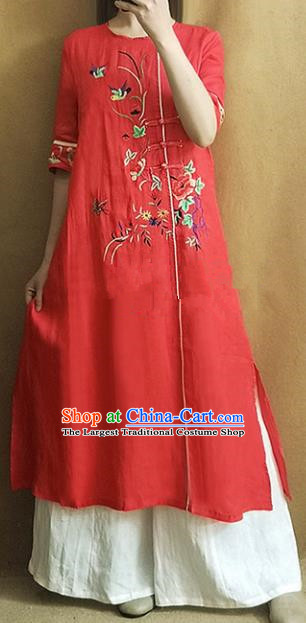 Traditional Chinese Embroidered Peony Red Cheongsam Qipao Dress Tang Suit National Costume for Women