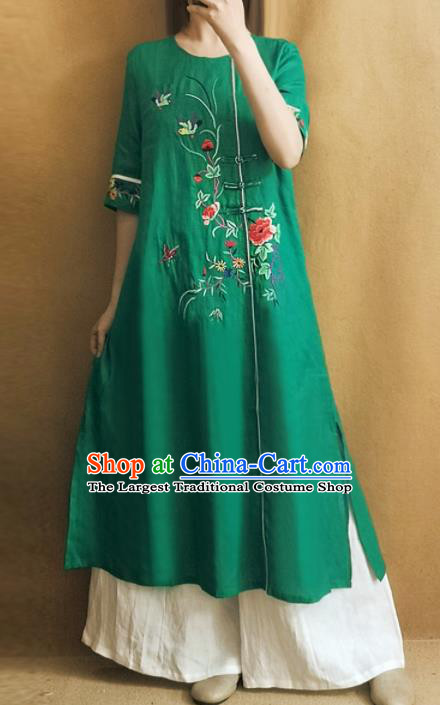 Traditional Chinese Embroidered Peony Green Cheongsam Qipao Dress Tang Suit National Costume for Women