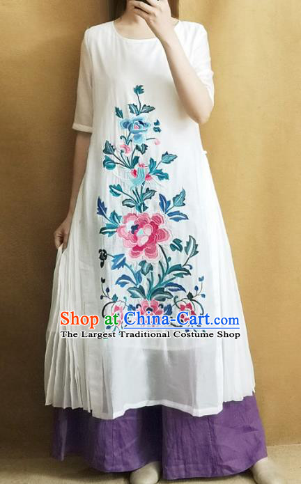 Traditional Chinese Embroidered Peony White Rayon Cheongsam Qipao Dress Tang Suit National Costume for Women