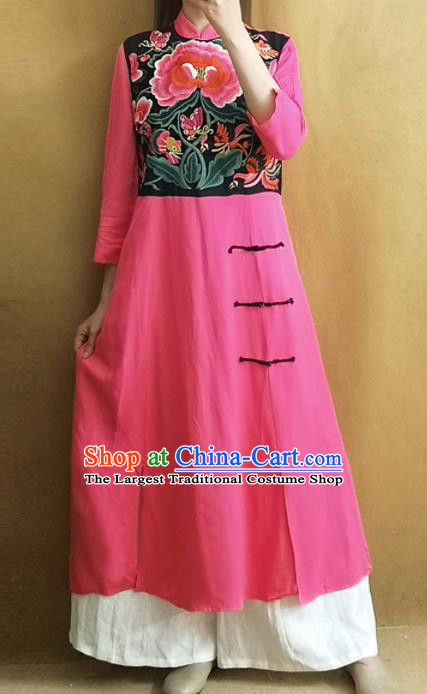 Traditional Chinese Embroidered Peony Cheongsam Plated Buttons Pink Qipao Dress Tang Suit National Costume for Women