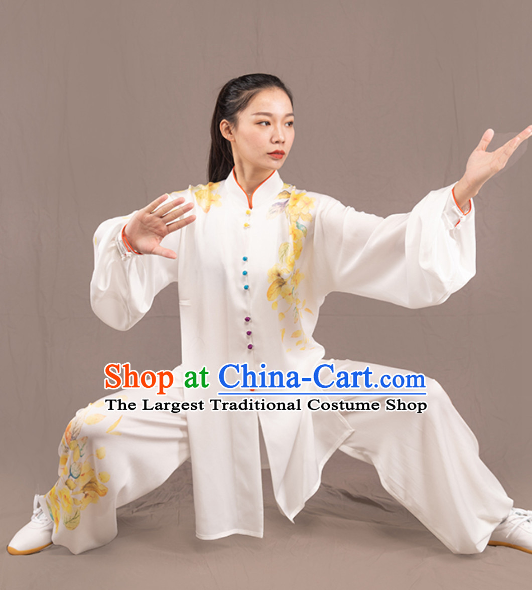 Top Chinese Traditional Competition Championship Professional Tai Chi Uniforms Taiji Kung Fu Wing Chun Kungfu Tai Ji Sword Gong Fu Master Stage Suits Clothes Complete Set