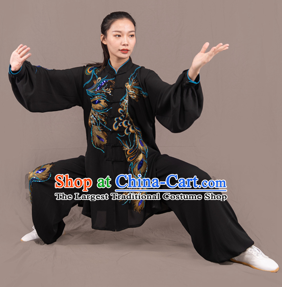 Black Top Chinese Traditional Competition Championship Professional Tai Chi Uniforms Taiji Kung Fu Wing Chun Kungfu Tai Ji Sword Gong Fu Master Clothing Suits Clothes Complete Set for Women