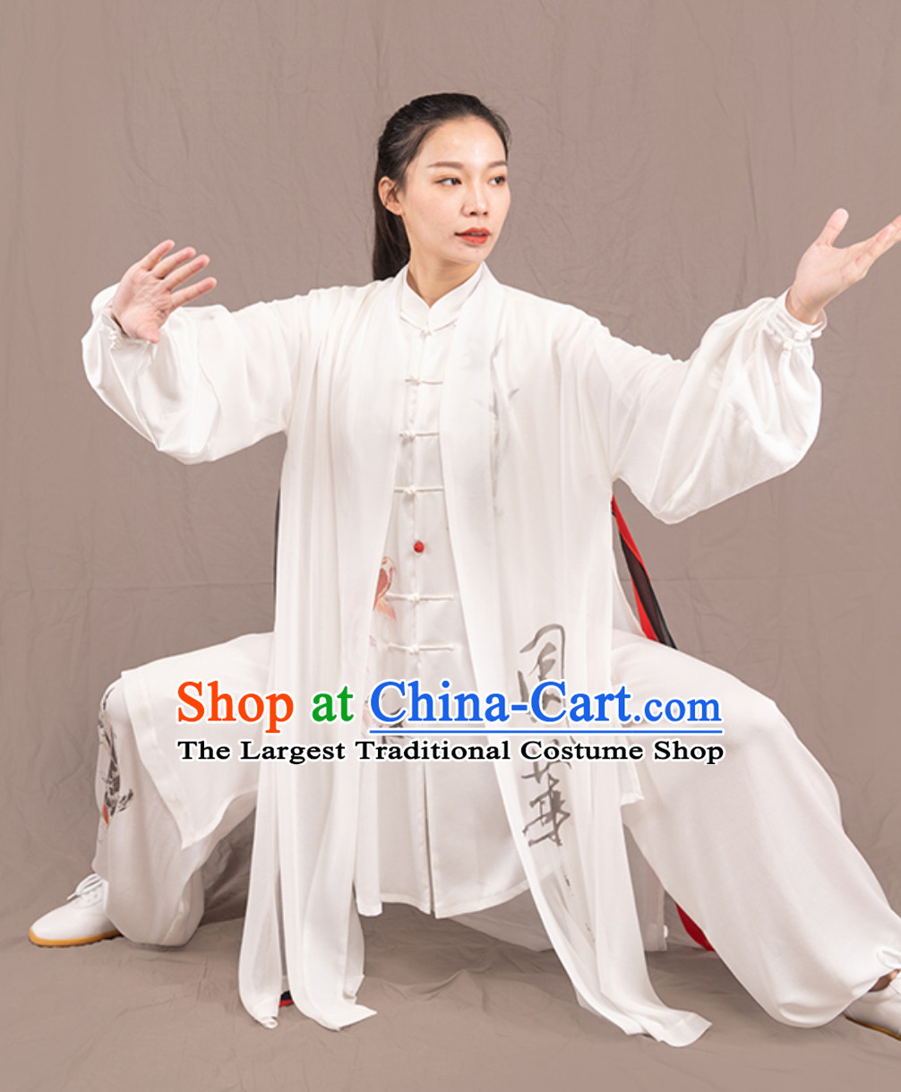 Top Chinese Traditional Competition Championship Professional Tai Chi Uniforms Taiji Kung Fu Wing Chun Kungfu Tai Ji Sword Master Clothing Suits Clothes 3 Pieces for Women