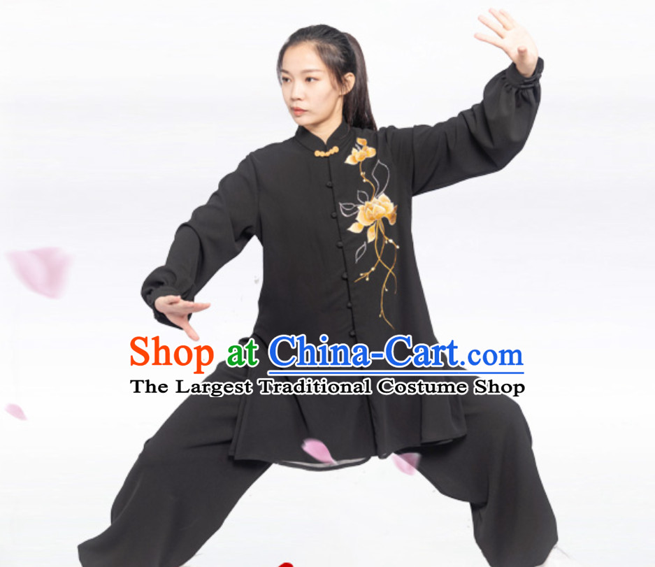 Black Chinese Traditional Competition Championship Professional Tai Chi Uniforms Taiji Kung Fu Wing Chun Kungfu Tai Ji Sword Master Clothing Suits Clothing