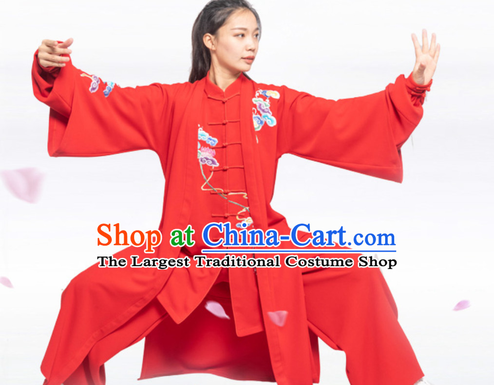 Good Meaning Auspicious Cloud Chinese Traditional Competition Championship Professional Tai Chi Uniforms Taiji Kung Fu Wing Chun Kungfu Tai Ji Sword Master Clothing Suits Clothing Complete Set