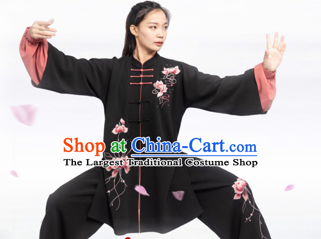 Top Chinese Classical Competition Championship Professional Tai Chi Uniforms Taiji Kung Fu Wing Chun Kungfu Tai Ji Sword Master Wear Clothing Suits Clothing Complete Set