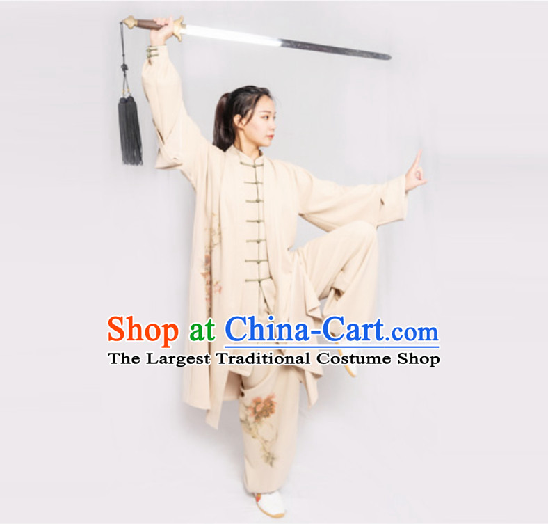 Old Style Top Chinese Classical Competition Championship Professional Tai Chi Uniforms Taiji Kung Fu Wing Chun Kungfu Tai Ji Sword Master Wear Clothing Suits Clothing Complete Set