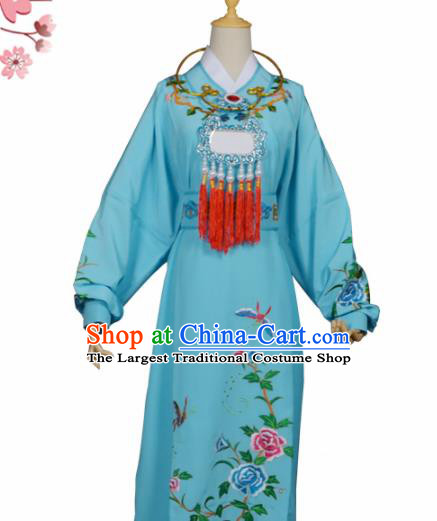 Handmade Chinese Beijing Opera Niche Costume Peking Opera Scholar Jia Baoyu Blue Clothing for Men