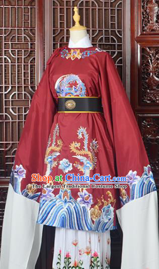 Handmade Chinese Beijing Opera Old Women Costume Peking Opera Actress Red Embroidered Dress for Women