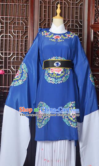 Handmade Chinese Beijing Opera Old Women Royalblue Costume Peking Opera Actress Embroidered Dress for Women